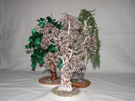 Композиция смешенный лес гипс, бисер, цветной метал